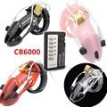 Chegada nova 4 Cores Choque Elétrico Terapia Médica Dispositivo de Castidade Cb6000 Cb6000s Caralho Gaiola Penis Anel de Brinquedos para o Homem G153