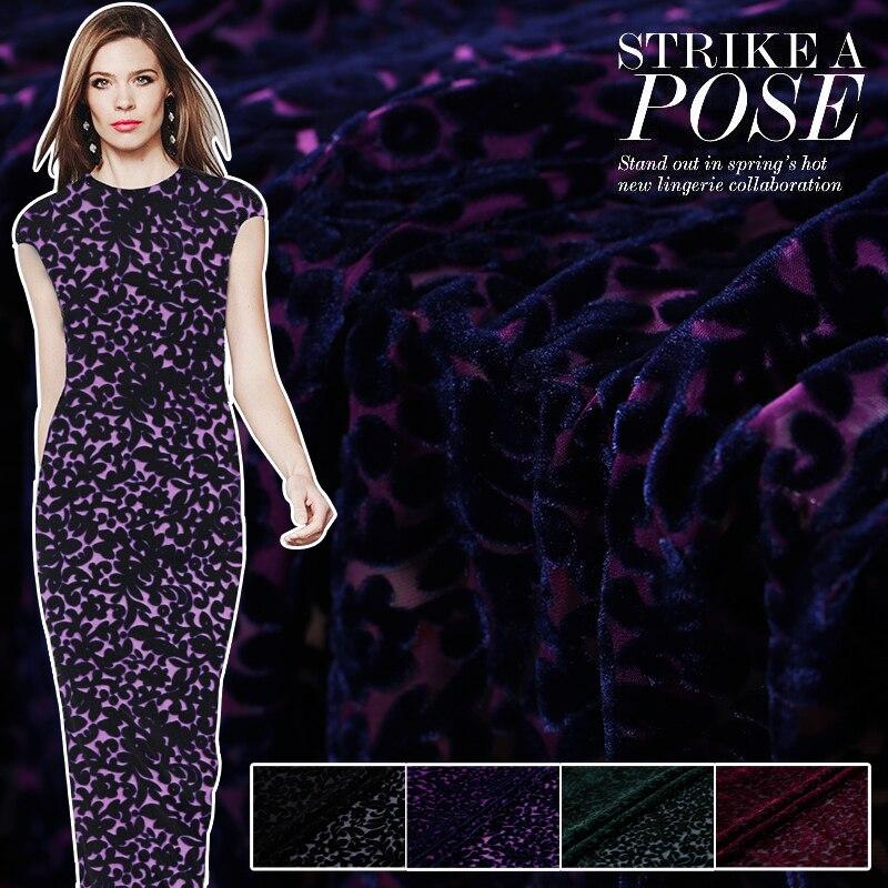 Burnout Velvet Fabric Drape Silk Velvet Fabric Clothing Cheongsam Dress Silk Fabric Wholesale Silk Cloth 114 Cm