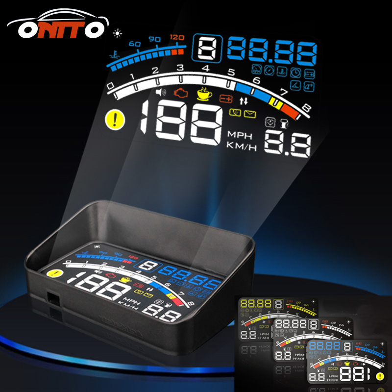 For ALL car model series fit Universal 5.5 Car OBD2 II EUOBD Car HUD Head Up Display projector auto head up display lighting rastp m9 hud 5 5 inch head up windscreen projector obd2 euobd car driving data display speed rpm fuel consumption rs hud011