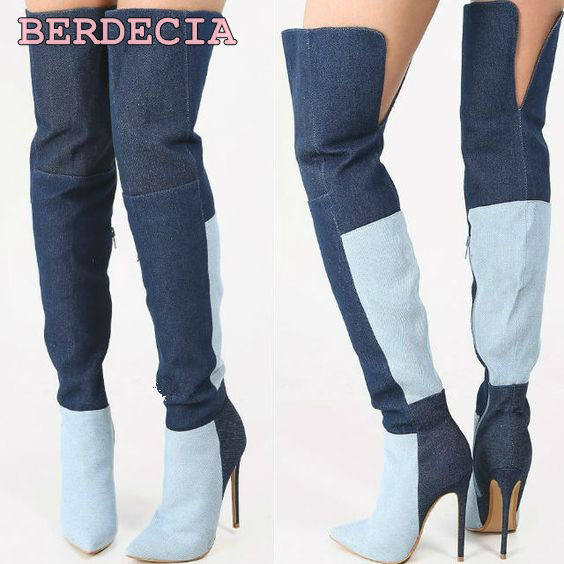 Hot selling patchwork denim over the knee long boots pointed toe stiletto heel thigh high shoes ladies summer factory real photo