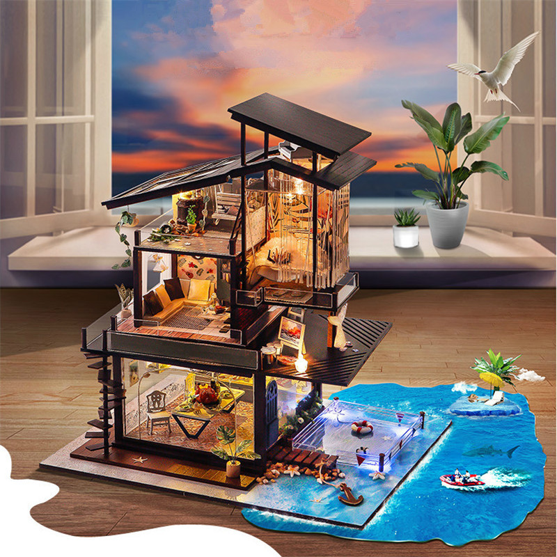 Sylvanian Families Cottages for Dolls Valencia Coast DIY Miniatura Toy Houses with Music Toys for Children LED Casa Juguetes