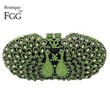 Dazzling Green Emerald Diamonds Crystal Women Kiss Peacock Hollow Out Evening Clutch Purse Metal Clutches Handbags Shoulder Bags