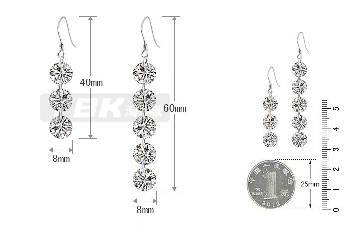 2017 new arrival super shiny zircon fashion 925 sterling silver female drop earrings wholesale birthday gift drop shipping in Drop Earrings from Jewelry Accessories