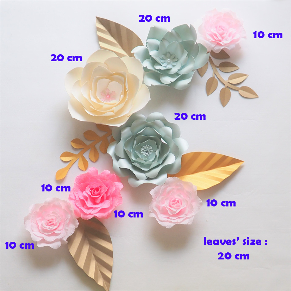 Giant Paper Flowers Backdrop Artificial Handmade Crepe Paper Rose 7PCS + 5 Leaves For Wedding & Party Deco Home Decoration