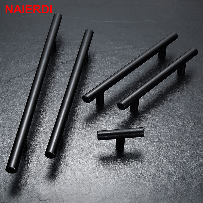 NAIERDI Stainless Steel Straight Cupboard Handles Knobs Brushed Black Gold Kitchen Door Handles Cabinet Pull Furniture Handle