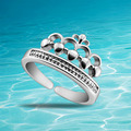 Free shipping Korean version of the 925 sterling silver ring opening can be adjusted Queen Crown Ring fashion