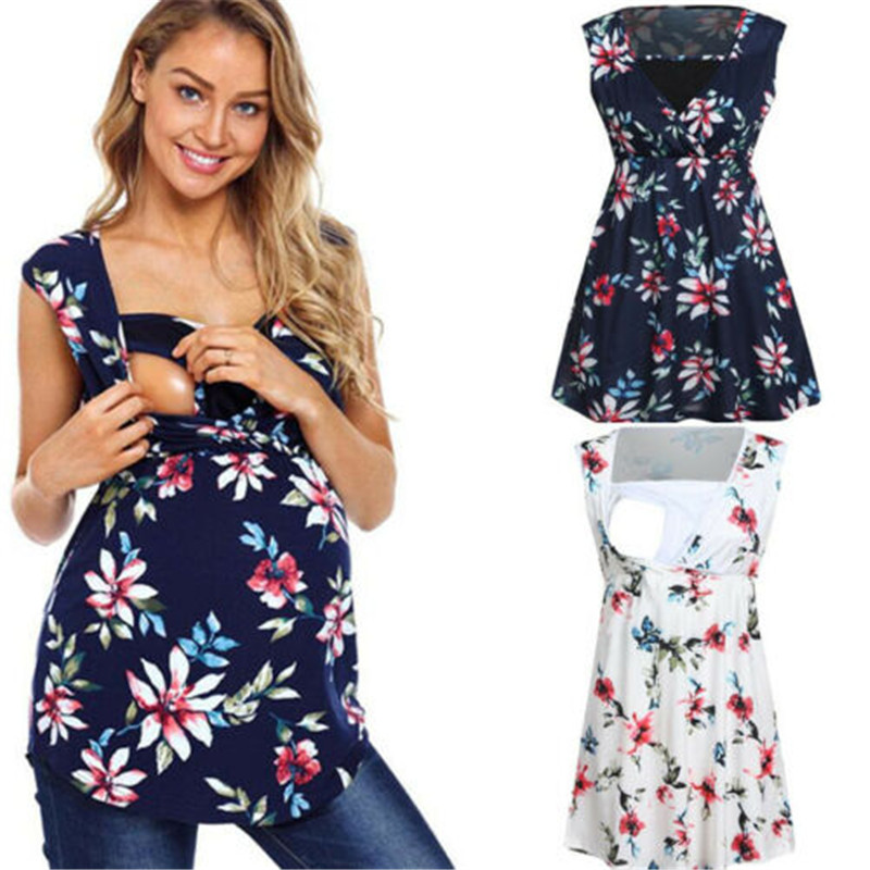 New Maternity Clothes Women Sleeveless Nursing Baby Floral Vest Pregnancy Breastfeeding T-Shirt Tops Maternity Casual Tee Shirts