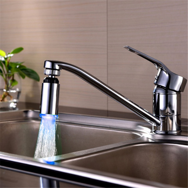 360 degree rotated LED faucet lamp colorful wash temperature ...