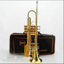 Top musical instruments BachB flat professional trumpet bell gold in Brass trompete trumpeter bugle horn trombeta LT180S-43