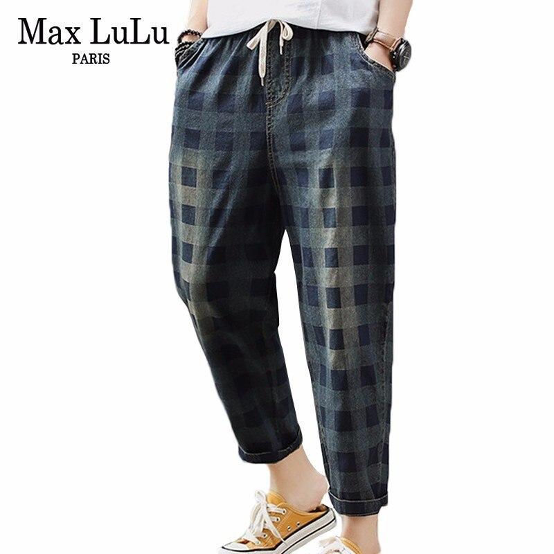 Max LuLu 2019 Autumn Luxury Korean Style Ladies Denim Trousers Women Plaid Punk Elastic Jeans Casual Loose Harem Pants Plus Size