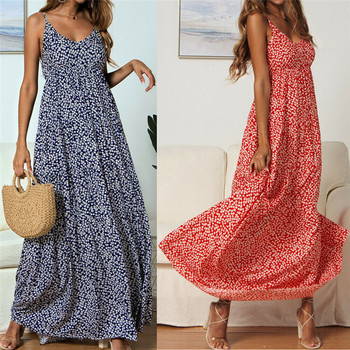 2019 Women Casual Boho Dresses Sleeveless Strap V Neck Floral-Printed Holiday Maxi New arrival