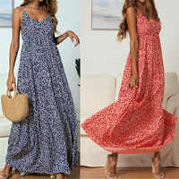 2019 Women Casual Boho Dresses Sleeveless Strap V Neck Floral-Printed Holiday Maxi Dresses New arrival