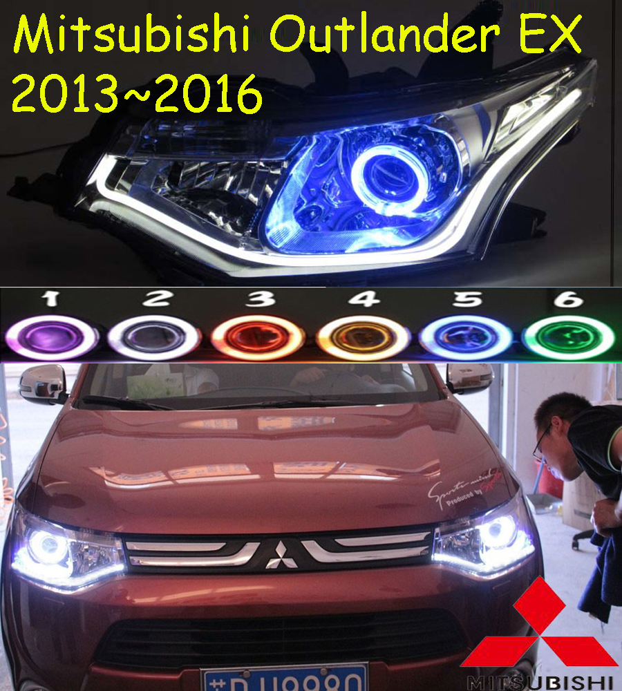 Mitsubish Outlander headlight,2013~2016(Fit for LHD&RHD),Free ship! Outlander headlight,2ps/se+2pcs Aozoom Ballast,Outlander EX mitsubish grandis headlight 2008 fit for lhd