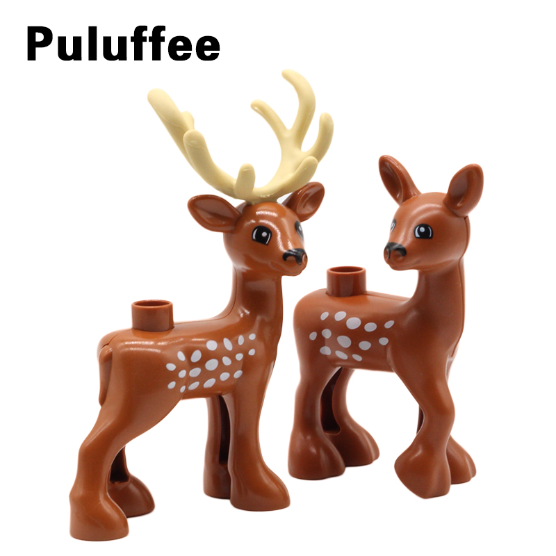 New Zoo Animal Sika Deer Building Blocks Big Particle Compatible With Duplo Bricks Set DIY Educational Toys For Children 2Pcs