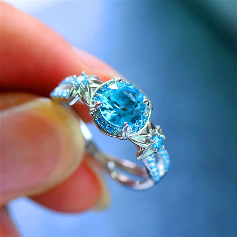 Luxury Female Blue Topaz Flower Ring Cute Boho 925 Sterling Silver Ring Vintage Wedding Bands Promise Engagement Rings For Women