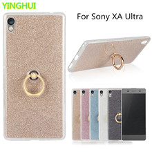 For Sony XA Ultra Case Flash powder 3D Relief Phone Case for Sony Xperia XA Ultra F3211 tpu Silicone Soft Back Cover With Ring