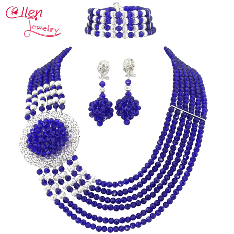 Blue African Beads Jewelry Set nigerian wedding bridal Crystal Beads Necklace Set African style necklace jewelry set E1196Blue African Beads Jewelry Set nigerian wedding bridal Crystal Beads Necklace Set African style necklace jewelry set E1196