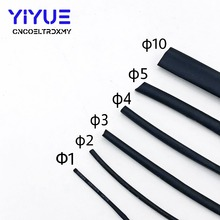 1M/lot Black Heat Shrink Tube 1mm 2mm 3mm 4mm 5mm 10mm Diameter Heatshrink Tubing Shrinkable Wrap Wire Cable Sleeve