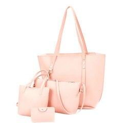 4 шт., женская кожаная сумка с рисунком + сумка через плечо + сумка-мессенджер + сумка для карт, одноцветная Элегантная Дамская компактные сумо...