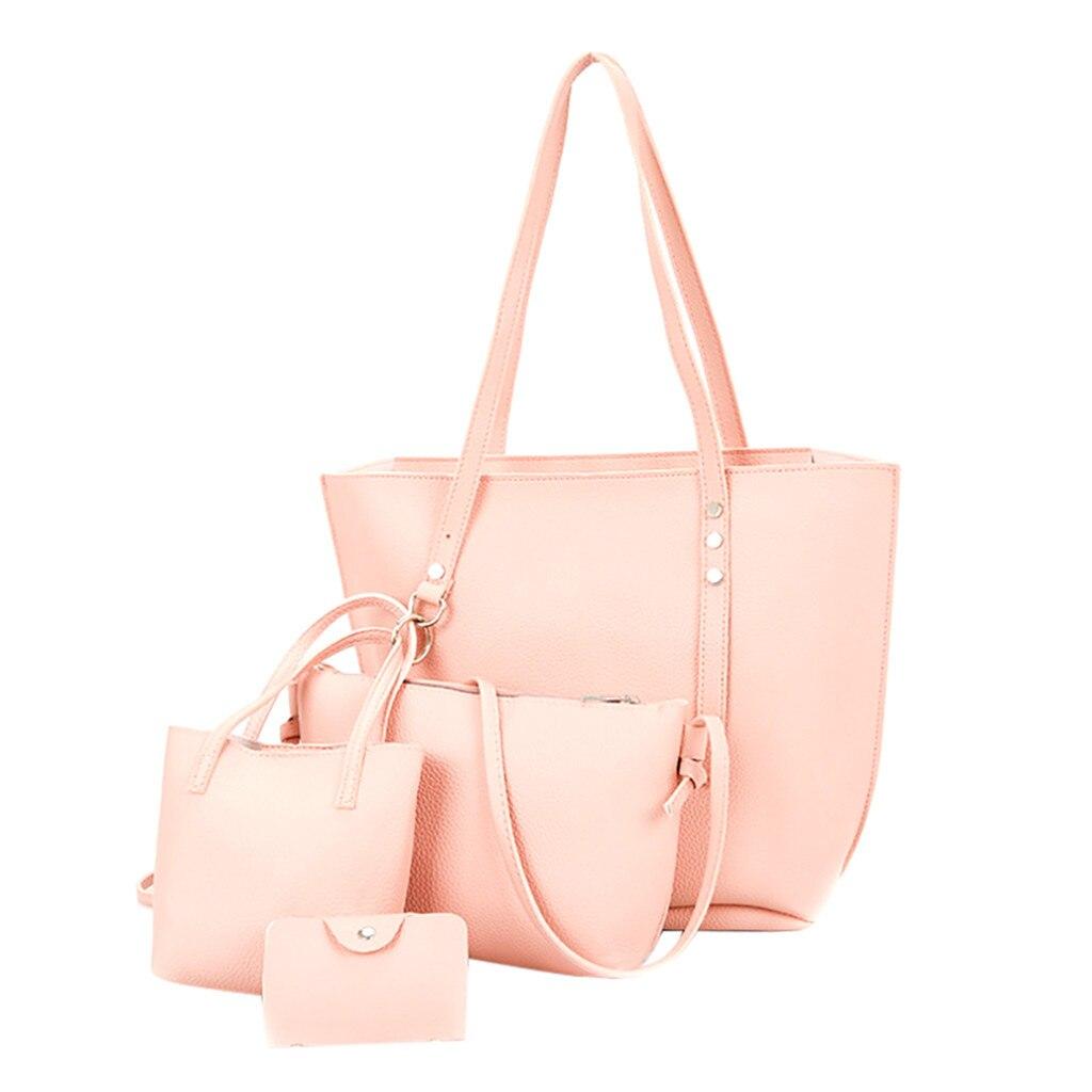 4Pcs Women Pattern Leather Handbag+Crossbody Bag+Messenger Bag+Card Package Solid Zipper Elegant Ladies Solid Handbags Set