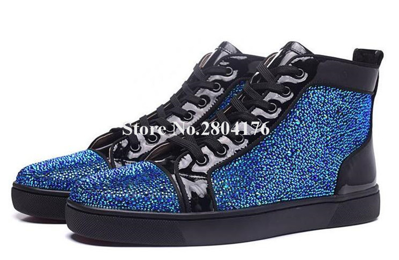 Hot Selling Men Bling Bling Round Toe Rhinestone Lace-up High-top Casual Shoes Leather Crystal Red Blue Sneakers Leisure Shoes 2017 hot selling crystal embellished woman casual shoes round toe white leather flat shoes lace up flat shoes high top shoes