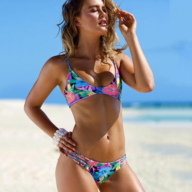 Double Side Printed 2017 Floral Bikini Set Sexy Swimsuit Swimwear BathingSuit For Female Beachwear