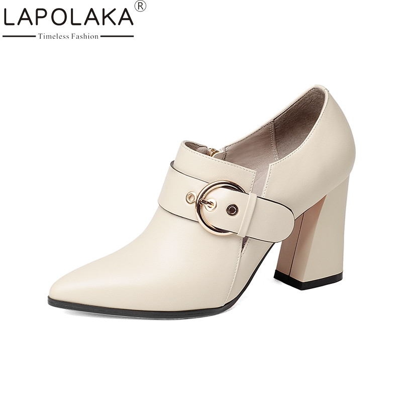 LAPOLAKA 2018 Spring Autumn Elegant Buckle Strap Women Pumps Overall Genuine Leather Ol Shoes Woman High Heels Beige Shoe stylesowner elegant lady pumps sandal shoe sheepskin leather diamond buckle ankle strap summer women sandal shoe
