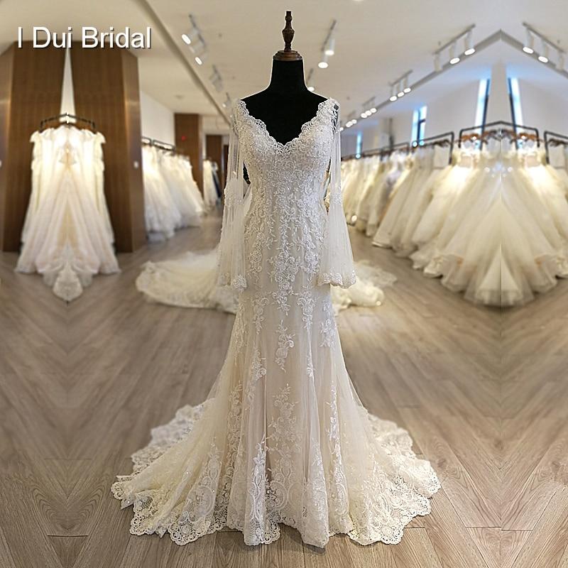 Flare Long Bell Sleeve Wedding Dress V Neck Illusion Back Appliqued Beaded Bridal Gown