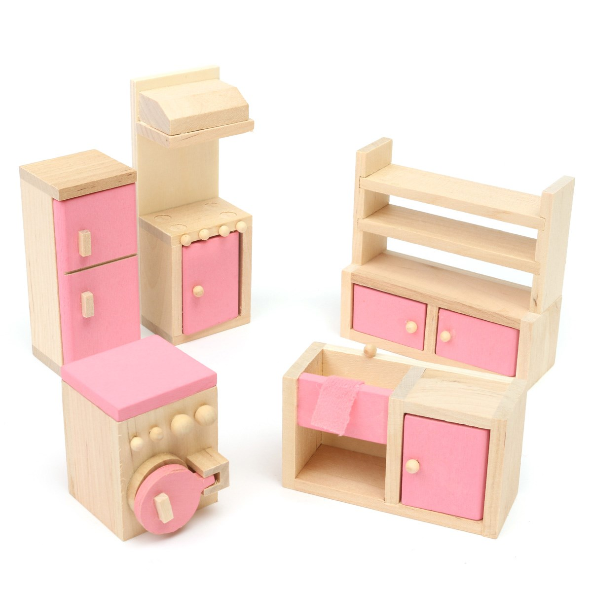dollhouse furniture cheap. Wooden Delicate Dollhouse Furniture Toys Miniature For Kids Children Pretend Play 6 Room Set/4 Dolls Toys-in From \u0026 Hobbies On Cheap A