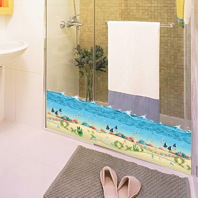 bleu océan mer poissons corail plinthe diy pvc mur autocollants ... - Plinthe Salle De Bain