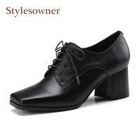 Стиль sowner натуральная кожа для отдыха lacu до женские туфли лодочки квадратный носок толстый высокий каблук черный белые женские туфли повсе
