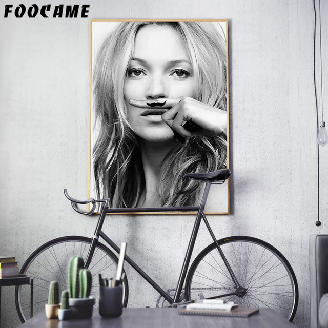 Foocam model kate moss life is a joke abstract posters and prints art canvas painting modern