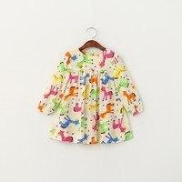 61254425 Retail 2017 Spring Girl Blouses Print Horse Fashion Full Sleeve Toddler Girl Top Korea Girl