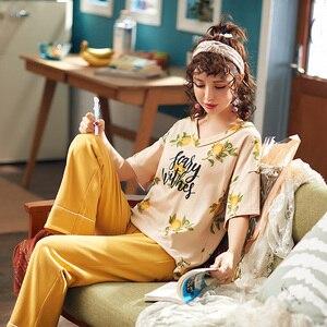 Image 5 - Nuovi Pigiami di Estate Delle Donne 100% Cotone Pajamas Set Short Magliette E Camicette + Pantaloni Lunghi Degli Indumenti Da Notte Floreale Con Scollo A V di Grande Formato M XXL Delle Signore indumenti da letto