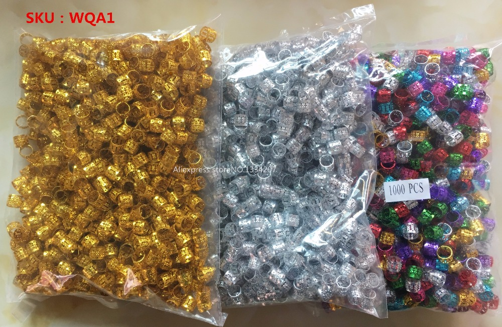 Image 2 - 1000Pcs/Lot Golden/Silver/Multicolour hair dread Braids dreadlock Beads adjustable cuffs clips Micro Rings Accessories wholesale-in Links, Rings & Tubes from Hair Extensions & Wigs