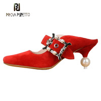 Prova Perfetto/Элегантные женские туфли лодочки из натуральной кожи на необычном каблуке, украшенные жемчугом и металлической пряжкой, женская об
