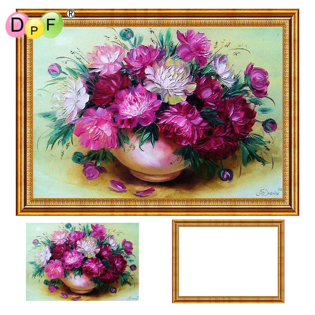 6b79a995ec DPF Diamond Embroidery Purple flowers 5d Round full Diamond painting Cross  Stitch with Framed Rhinestone home Decor painting