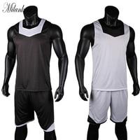 Double side Wearing Mens Basketball Jersey Set Breathable Mesh Jerseys Sleeveless Adult Sportswear Training Clothes Team Uniform
