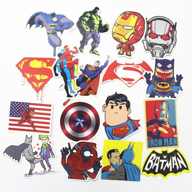 Home toys hobbies 32pcs hot super hero stickers for kids laptop car decal fridge skateboard batman superman hulk iron man sticker toy stickers