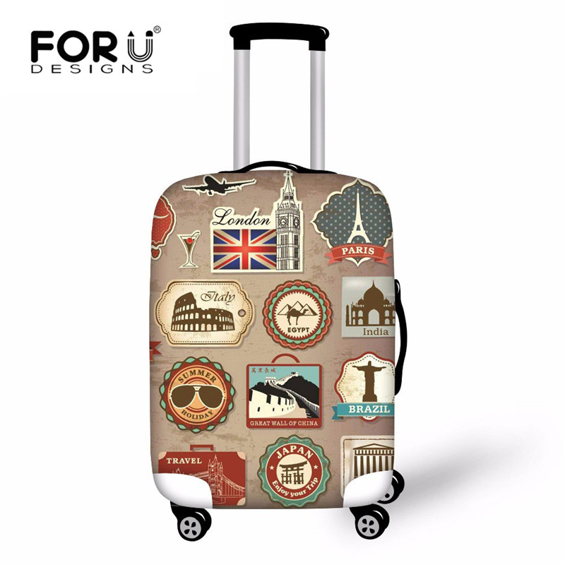FORUDESIGNS Vintage Elastic Thick Luggage Cover For Trunk Case Travel On Road Suitcase Dustproof Protector Cover Dropship Custom