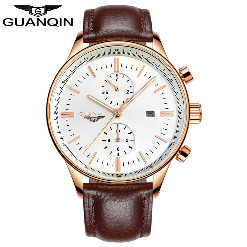 ФОТО GUANQIN GQ13006 Mens Luxury Watches Top Brand Luminous Clock Men Complete Calendar Genuine Leather Band Waterproof Quartz Watch