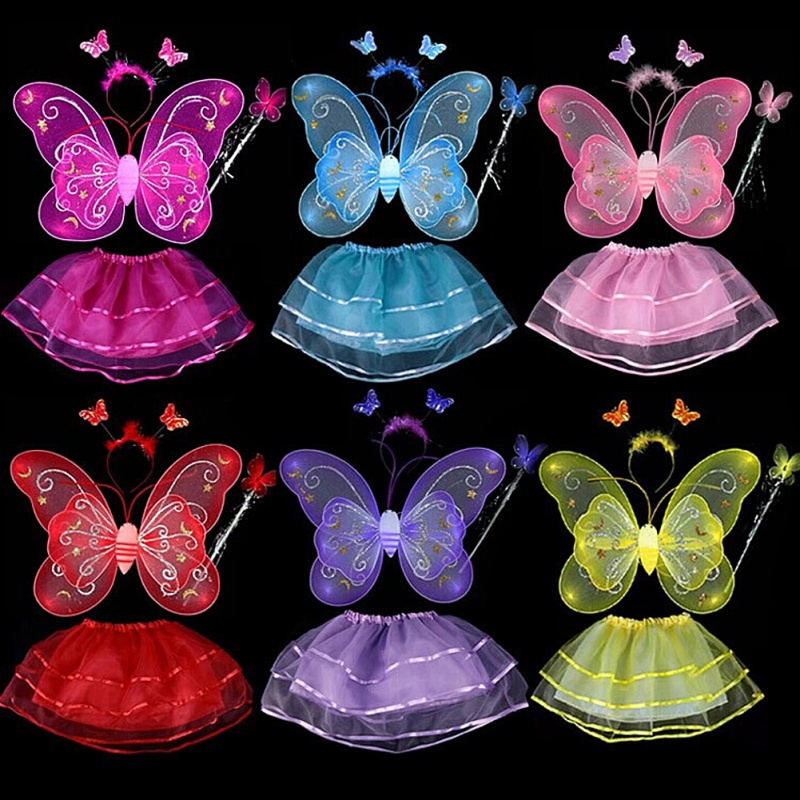 Butterfly Wing Wand Headband Tutu Skirt Cosplay Costume For Fairy Girl Kid