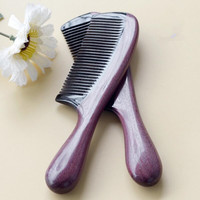 Handwork Natural Violet Round Handle Wood Comb For Hair Massage No Static Electricity Portable Peine Health
