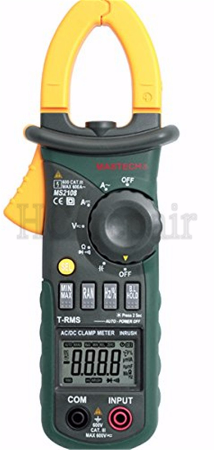ФОТО Mastech MS2108A Digital Clamp Multimeter Frequency Max./Min.Value Measurement Holding Lighting Bulb Carrying Bag