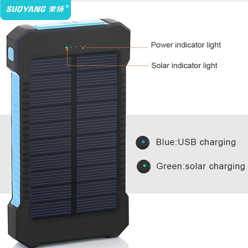 20000 mAh Solar Power Bank Dual USB powerbank Batteria Esterna Impermeabile Portatile di Ricarica con la Luce del LED 2USB poverbank