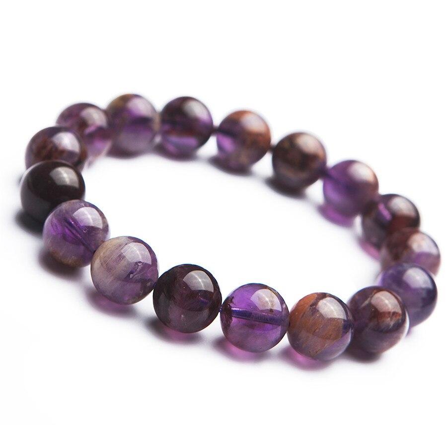 Genuine Natural Purple Phantom Quartz Women Stretch Fashion Round Beads Bracelet 13mmGenuine Natural Purple Phantom Quartz Women Stretch Fashion Round Beads Bracelet 13mm