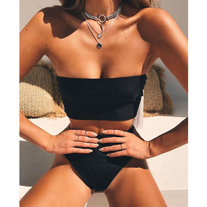 Haute Jambe Bandeau ensemble Bikini Maillots De Bain femme deux pièces maillot de bain taille haute Bikini Femmes maillot de bain biquini 1