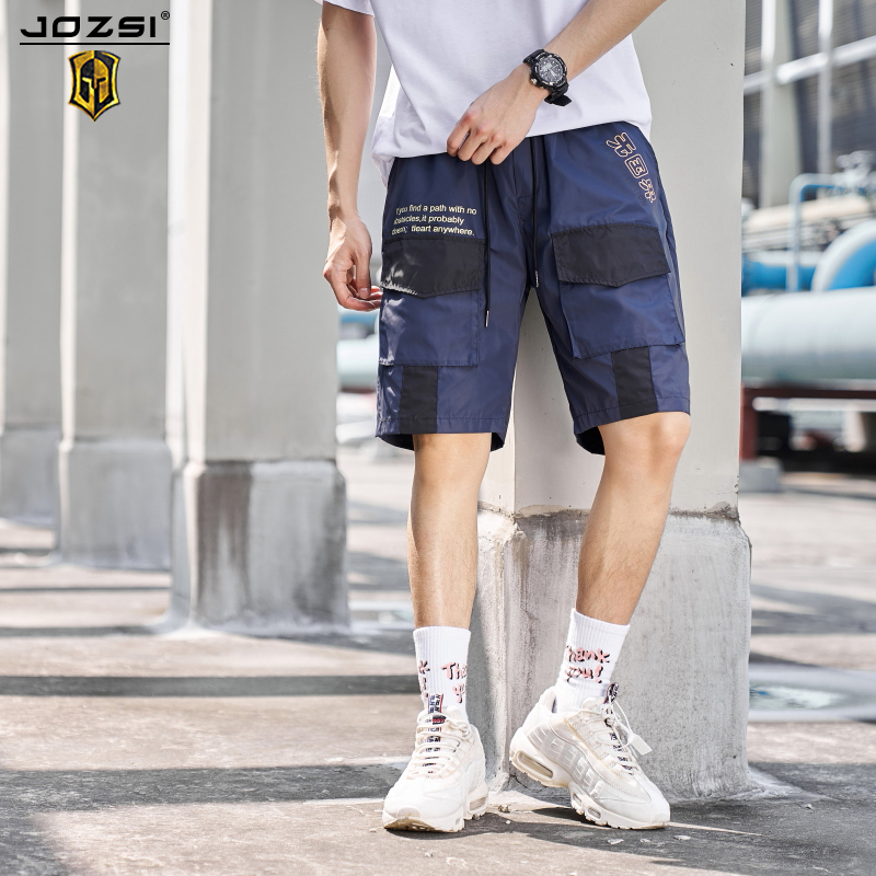 2019 Men's Tooling Shorts 2019 Summer New Casual Loose Overalls Men Tether Middle Waist Casual Shorts