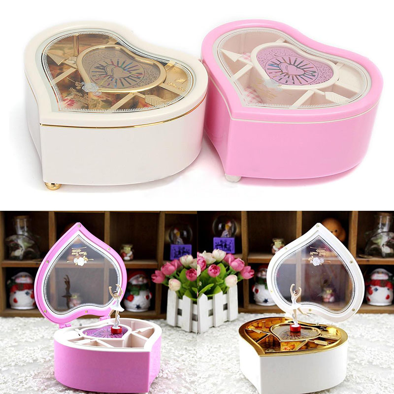Mayitr Heart Shaped Music Boxes Jewellery Music Box Ballerina Dancer Christmas Gift DIY Decoration Random Color