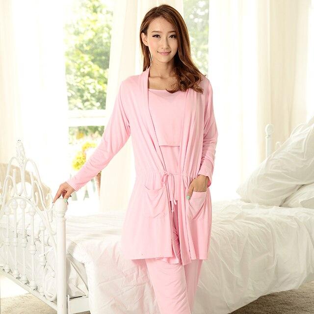 MamaLove 3pcs Modal Maternity pregnancy Clothes Nursing nightgown Breastfeeding sleepwear for Pregnant Women Maternity Pajamas